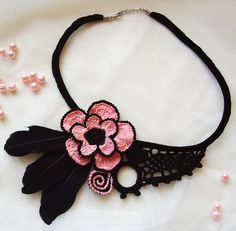Elegant crochet necklace Handmade jewelry by KSZCrochetTreasures