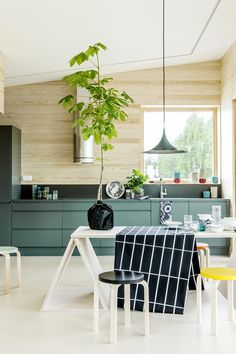 Beautiful kitchen with stools from Artek via Hunajaista.