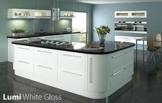 white gloss kitchen black worktop - Google Search