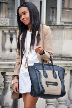 Street style: Zara coat, French Connection dress, Céline bag