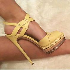 Nice Yellow high heel Shoes