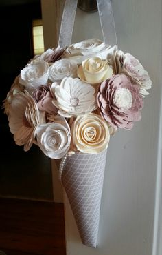 Paper Flower Pew Cone  Bridal by FlowersInFebruary on Etsy, $45.00