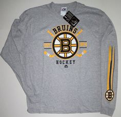 NWT Boston Bruins Cross Bar Long Sleeve Black//Gold Split Neck Graphic T Shirt M