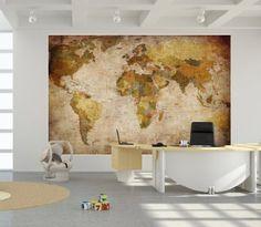 Papier peint photo Mappemonde - Motif vintage retro - Image murale XXL du Mappemonde - Décoration murale 210 cm x 140 cm