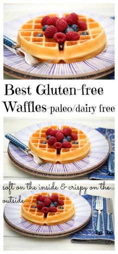 Delicious Gluten-free/Paleo friendly Waffles.  Dairy free too!  These are soft on the inside and nice and crispy on the outside.  These are a family favorite in my home!
