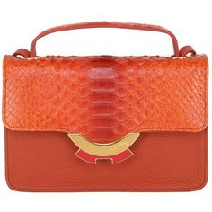 Patricia Al'kary Women Small Leather Bag With Python Details ($1,760) ❤ liked on Polyvore featuring bags, handbags, shoulder bags, orange, top handle leather handbags, orange leather purse, leather shoulder bag, red leather purse and leather shoulder handbags