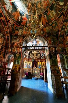 Interior of the Monastery of the Holy Trinity (1475), Meteora, Greece