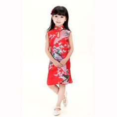 Cheongsam for Grils Chinese Traditional Dress for Kids Princess China-Tang Girl's Cheongsam Dress