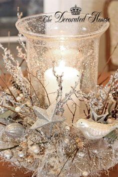 Silver Winter wedding center piece Borddekoration til vinterbryllup i sølv og hvid