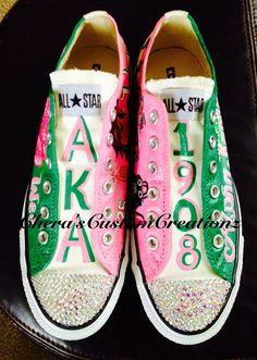 d98e27543158ac Custom hand-painted Alpha Kappa Alpha AKA inspired sneakers available at  www.facebook.com CherasCustomCreationz.