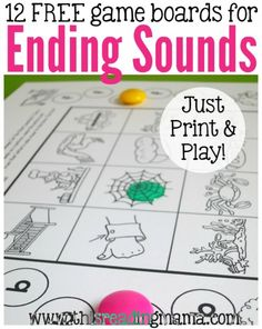 Get 12 free ending sounds games to build phonemic awareness and early reading skills! Preschool Phonics, Free Preschool, Kindergarten Worksheets, In Kindergarten, Reading Games, Reading Skills, Teaching Reading, Guided Reading, Early Reading