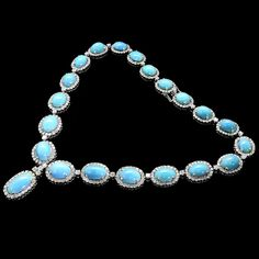 Tapering Cabochon Turquoise 24.50ct Diamond Gold Necklace | |