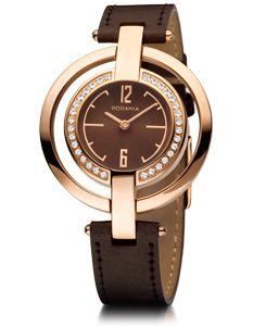 Montre Rodania Dame dont le boitier est en acier plaqué rose et serti de zirconiums. Le bracelet est en cuir marron.