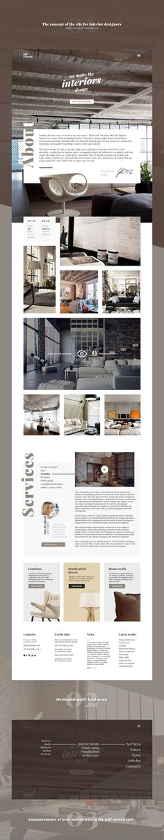 The concept of the site for interior designers.