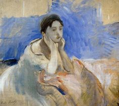 My Bonnie Lies OVer the Ocean  Berthe Morisot Young Woman Leaning on Her Elbows 1894