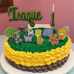 BOLO SAFARI - COM TOPO PERSONALIZADO Birthday Cake, Desserts, Food, Lemon Mousse, Theme Cakes, Vanilla, Dessert, Deserts, Party