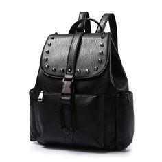 3ddc17baca Vintage Women Faux Leather Backpack Rivet Shoulder Satchel Bag School  Bookbag
