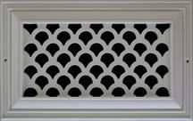 Derived from a scale of a fish and sometimes referred to as the fan or shell design, this pattern has been popular in coastal homes, bringing a sense of the sea into the home. Our Resin registers and vent covers offer an affordable alternative to standard bronze and aluminum grilles. These registers and vent covers are primarily for wall and ceiling installation.  Each one comes in a paintable white finish.