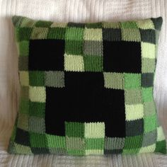 Fun Minecraft pillow worked in intarsia.