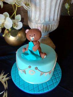 Blue Baby Shower Cake @1morebitebakery
