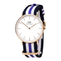 Daniel Wellington 0509DW Women's Classic Trinity White Dial Rose Gold Steel Nylon Strap Watch