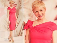 Michelle Williams in Valentino for the 'My Week with Marilyn' press tour. Love her gamine hair and the exquisite coral pink. Divine.