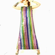 Vintage 60s Rainbow Stripe Sequin Dress Glam by WelcomeHomeVintage
