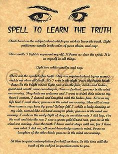 Spell Learn the Truth, Psychic Power, Book of Shadows Pages, BOS Pages, Wicca Witch Spell Book, Witchcraft Spell Books, Magick Spells, Wicca Witchcraft, Curse Spells, Real Spells, Wiccan Rituals, Luck Spells, Voodoo Spells