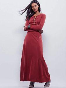 34e8b220a9 Maxi vestidos de las mujeres Lace Up manga larga de color rojo oscuro de  verano vestido largo