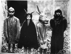 Old photographs of trick or treaters making their rounds in vintage Halloween costumes. They are terrifying. Stay safe out there kids.