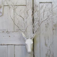 Wall mounted deer with live branch antlers painted white with rhinestone collar shabby cottage chic home decor anita spero