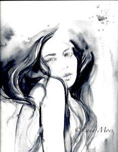 Fashion Illustration Original Watercolor Painting by LanasArt