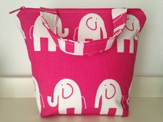Outer pocket Pink Elephant Insulated Lunch Bag by LilTotWonder, $40.00