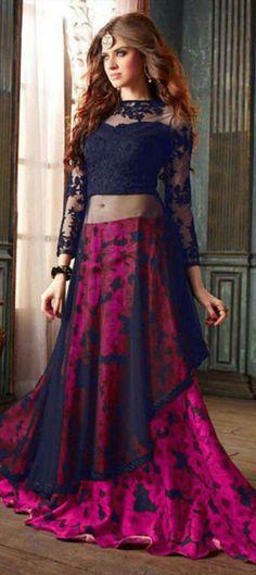 Buy Red with blue color net designer anarkali salwar suit. online in India at best price.This is a designer Anarkali Salwar suit. Top crafted in Net fabric. Salwar bottom is crafted in Silk. Anarkali Dress, Lehenga Choli, Pakistani Dresses, Indian Dresses, Indian Outfits, Green Lehenga, Lehenga Suit, Anarkali Suits, Jacket Lehenga