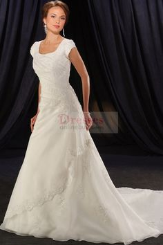 Charming A-Line/Princess Square Chapel Chiffon Modest Wedding Dresses With Appliques