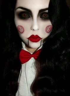 maquillaje-halloween-saw-billy . - maquillaje-halloween-saw-billy … maquillaje-halloween-saw-billy Más Costume Halloween, Cool Halloween Makeup, Halloween Makeup Looks, Halloween Looks, Halloween Diy, Halloween Costumes Women Scary, Costumes Kids, Horror Costume, Halloween Outfits