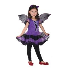 Hot Party Cosplay Bat Costume Violet Skirt Halloween Clothes Kids Girls Game COS Princess Dresses Skirt Suit Children's Clothing
