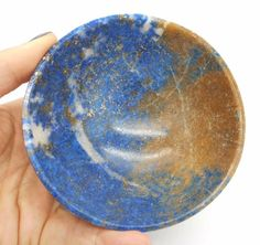 Lapis Lazuli with Calcite Crystals Hand Carved Gem Stone Bowl 104 mm Rare