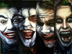 All the four actors in their roles Cesar Romero(1966) Jack Nicholson (1989) Heath Ledger (2008) Jared Leto (2016)