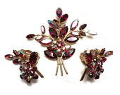 Vintage Brooch And Earring Demi Parure Rare Verified Denbe Rhinestone Trembler