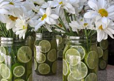 Country Wedding Daisies centerpiece with limes in mason jar. Related posts: country wedding ideas for summer on a budget country wedding ideas for summer on a budget – … country wedding ideas for summer on a budget Outdoor Wedding Decoration Mason Jar Centerpieces, Wedding Centerpieces, Mason Jars, Summer Centerpieces, Fruit Centerpiece Ideas, Daisy Wedding Decorations, Fiesta Party Centerpieces, Lime Centerpiece, Dollar Store Centerpiece