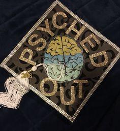 """PSYCHED OUT"" Psychology major graduation cap design made by me & Maya. #graduation #psychologygrad #psychologycap"