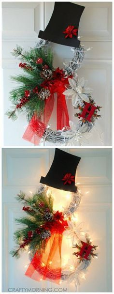 Diy santa tulle wreath instructions christmas wreath craft ideas lets celebrate beautiful lighted grapevine snowman wreath to make for a christmas door decoration solutioingenieria Gallery