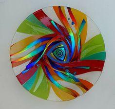 Glass platter wall hanging as well