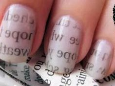 How to Make Newspaper Nails. Nail art might seem difficult but it's not and you can create some incredible effects yourself at home. In this tutorial, you'll learn how to make newspaper nails, which gives new meaning to having the latest. Nail Art Journal, Diy Nails, Cute Nails, Pretty Nails, Newspaper Nail Art, Newspaper Design, Diy Ongles, Nail Art Designs, Do It Yourself Nails