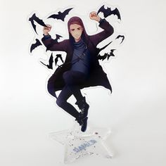 Acrylic Standee of Damien Dawn, Comes flat in 2 parts with two-sided core print, base 1 sided. Anna Blue, Emo Love, Laser Cut Acrylic, Scream, Anime Guys, Dawn, Goth, Hipster Stuff, Gothic