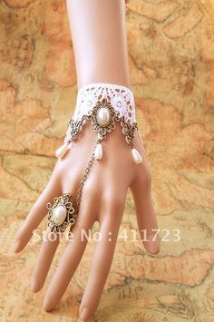 ($15 free post) 2012 new beautiful Gothic Lolita lace white lace bride Princess bracelet pearl bracelet band ring-in Cross Jewelry from Jewelry on Aliexpress.com