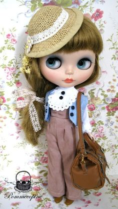 Blythe Casual line outfit Long Trip DRESS SET  by POMMECOPINE. $17.50, via Etsy.