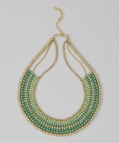 Take+a+look+at+the+Green+Tonal+Beaded+Bib+Necklace+on+#zulily+today!