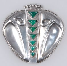 MAX JOSEPH GRADL, belt buckle, 1902, sterling silver with chrysoprase cabochons, 6cm wide  |  SOLD $2,400 Germany 2008